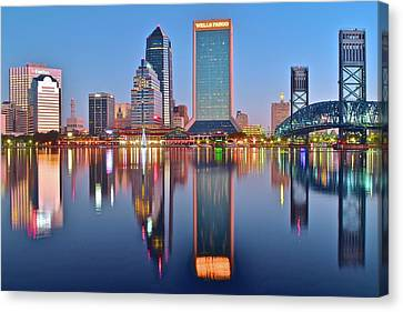 Jacksonville Florida At Daybreak Canvas Print by Frozen in Time Fine Art Photography