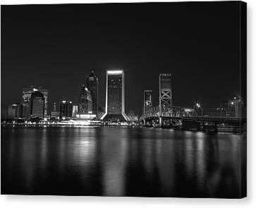 Jacksonville Landing At Night Canvas Print by Sharon Batdorf