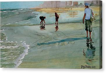 Canvas Print featuring the painting Jacksonville Shell Hunt by Jeffrey S Perrine