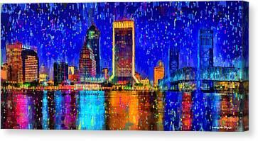Jacksonville Skyline 100 - Da Canvas Print