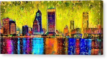 Rich Canvas Print - Jacksonville Skyline 101 - Pa by Leonardo Digenio