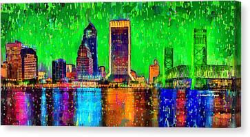 Jacksonville Skyline 106 - Pa Canvas Print by Leonardo Digenio