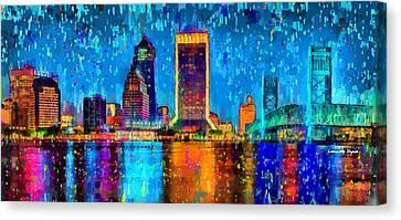 Rich Canvas Print - Jacksonville Skyline 107 - Da by Leonardo Digenio