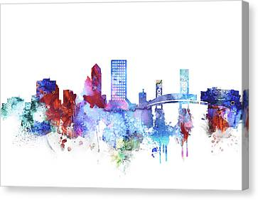 Jacksonville Skyline Watercolor Canvas Print by Dim Dom