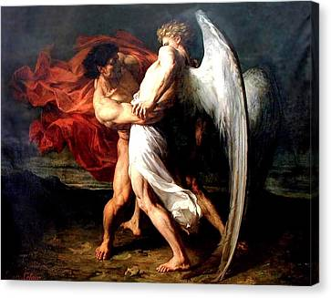 Jacob Wrestling With The Angel Canvas Print by Alexander Louis Leloir
