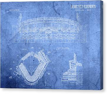 Cleveland Indians Canvas Print - Jacobs Field Cleveland Indians Ohio Baseball Team Field Blueprints by Design Turnpike