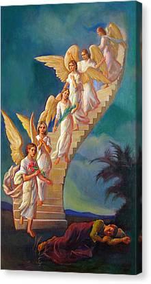 Canvas Print featuring the painting Jacob's Ladder - Jacob's Dream by Svitozar Nenyuk