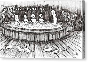 Canvas Print featuring the drawing Jacuzzi 2 by R  Allen Swezey