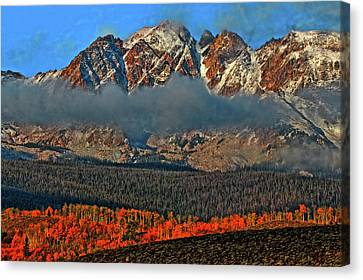 Canvas Print featuring the photograph Jagged Peaks Fall by Scott Mahon