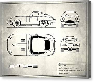 Jaguar E Type Blueprint Design Canvas Print