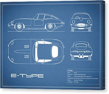 Jaguar E Type Blueprint Canvas Print by Mark Rogan