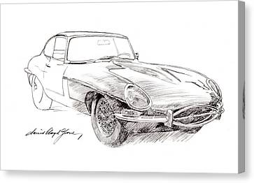 Car Canvas Print - Jaguar E-type by David Lloyd Glover