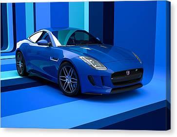 Jaguar F-type - Blue Retro Canvas Print