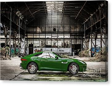 Jaguar F-type - British Racing Green - Side View Canvas Print