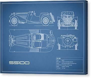 Jaguar Ss100 Blueprint Canvas Print by Mark Rogan