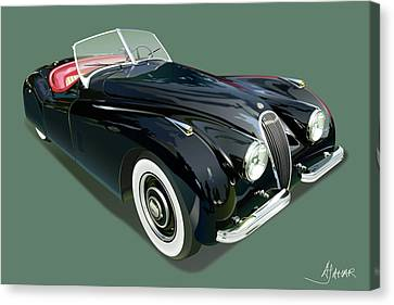 Jaguar Xk 120 Illustration Canvas Print
