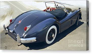 Jaguar Xk-140 Snowride Canvas Print by Curt Johnson