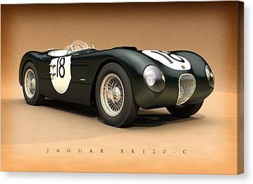 Jaguar Xk120-c Canvas Print by Pete Chadwell