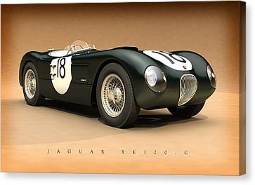 Jaguar Xk120-c Canvas Print by Pete Chadwell