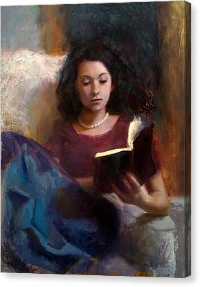 Canvas Print featuring the painting Jaidyn Reading A Book 1 - Portrait Of Young Woman by Karen Whitworth