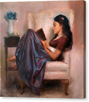 Canvas Print featuring the painting Jaidyn Reading A Book 2 - Portrait Of Woman by Karen Whitworth
