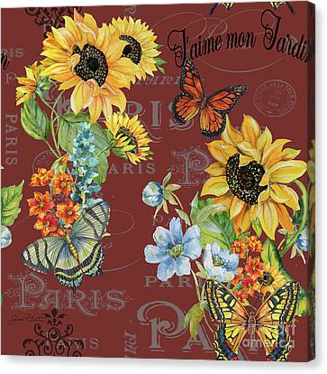 Canvas Print featuring the painting Jaime Mon Jardin-jp3988 by Jean Plout