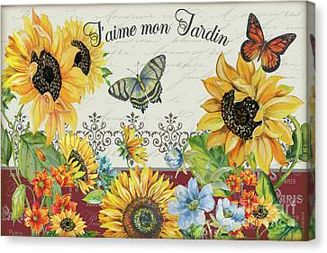 Canvas Print featuring the painting Jaime Mon Jardin-jp3990 by Jean Plout