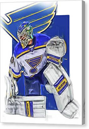 Jake Allen St Louis Blues Oil Art Canvas Print by Joe Hamilton