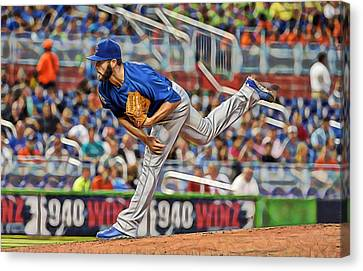Jake Arrieta Chicago Cubs Pitcher Canvas Print by Marvin Blaine