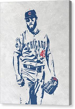 Jake Arrieta Chicago Cubs Pixel Art Canvas Print by Joe Hamilton
