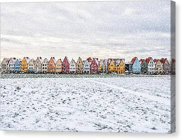 Jakriborg In Snowstorm Canvas Print by Antony McAulay