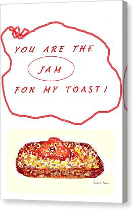 Canvas Print featuring the drawing Jam For My Toast by Denise Fulmer