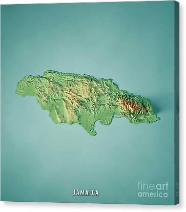 Canvas Print - Jamaica 3d Render Topographic Map by Frank Ramspott