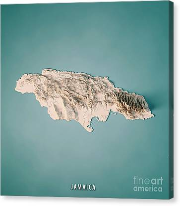 Canvas Print - Jamaica 3d Render Topographic Map Neutral by Frank Ramspott