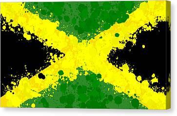 Haiti Canvas Print - Jamaica Flag Paint Splatter by Dan Sproul