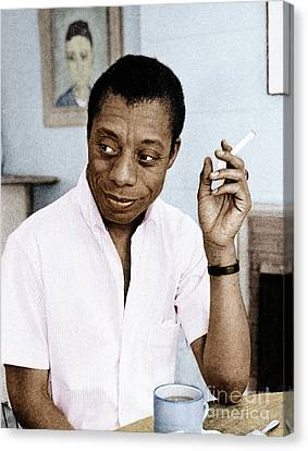 Canvas Print featuring the photograph James Baldwin by Granger