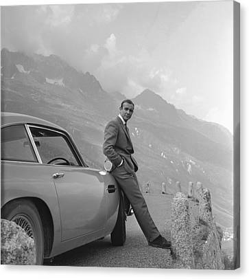 James Bond Canvas Print - James Bond And His Aston Martin by Georgia Fowler