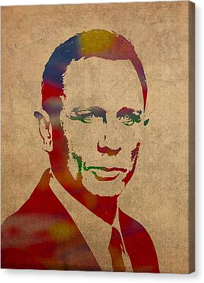 James Bond Daniel Craig Watercolor Portrait Canvas Print by Design Turnpike