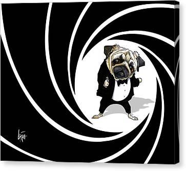 James Bond Pug Caricature Art Print Canvas Print by John LaFree