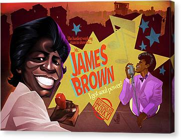 James Brown Canvas Print by Nelson Dedos Garcia