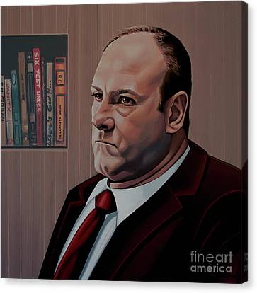 James Gandolfini Painting Canvas Print by Paul Meijering