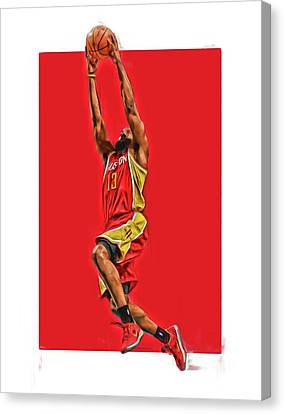 James Harden Houston Rockets Oil Art Canvas Print