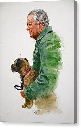 Canvas Print featuring the painting James Herriot And Bodie by Cliff Spohn