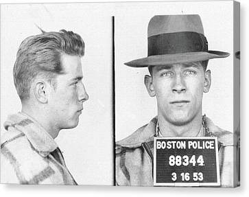 Canvas Print featuring the mixed media James Whitey Bulger Mug Shot by Dan Sproul