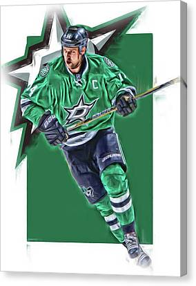 Jamie Benn Dallas Stars Oil Art Series 1 Canvas Print by Joe Hamilton
