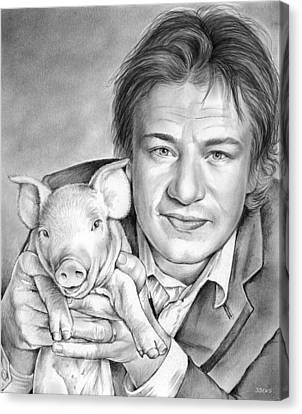 Jamie Oliver Canvas Print by Greg Joens
