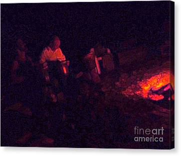 Jamming By The Fire Canvas Print by JoAnn SkyWatcher