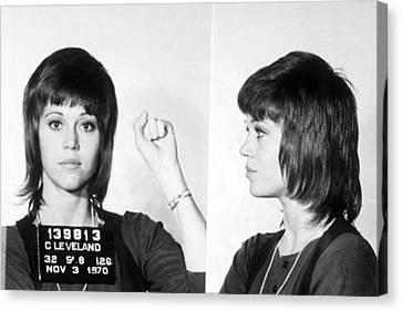 Jane Fonda Mug Shot Horizontal Canvas Print by Tony Rubino