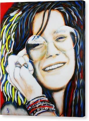 Canvas Print featuring the painting Janis Joplin Pop Art Portrait by Bob Baker