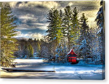 January Snow At The Red Boathouse Canvas Print by David Patterson